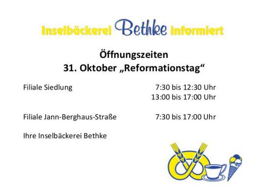 Öffnungszeiten 31. Oktober